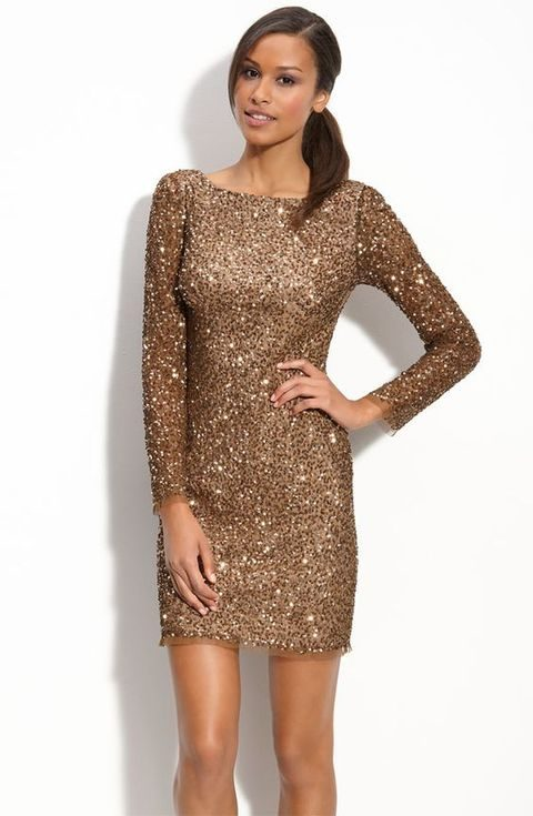 Copper Sequin Dress With Long Sleeves