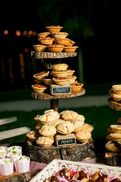 create wood slice and log cake stands with mini pies