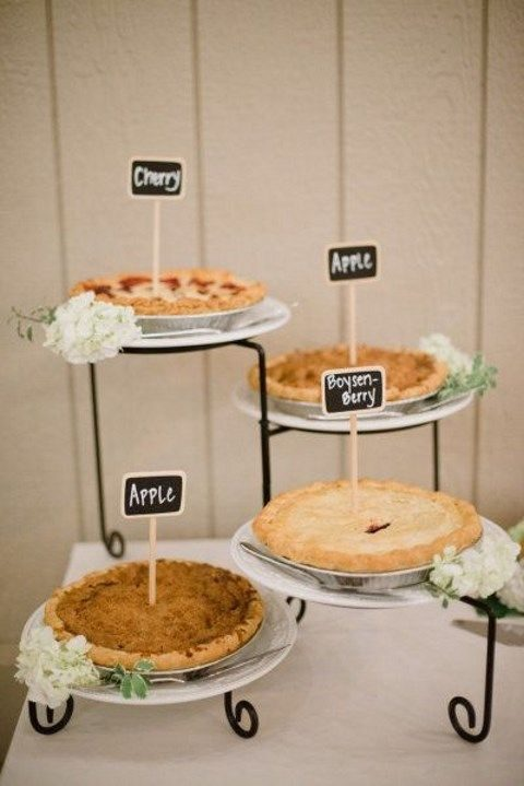 elegant pie bar with metal stands