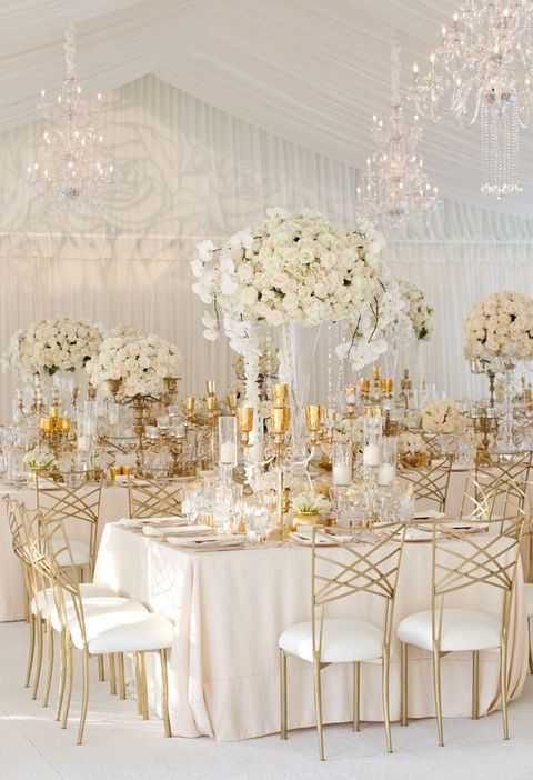All White Wedding Reception Decor