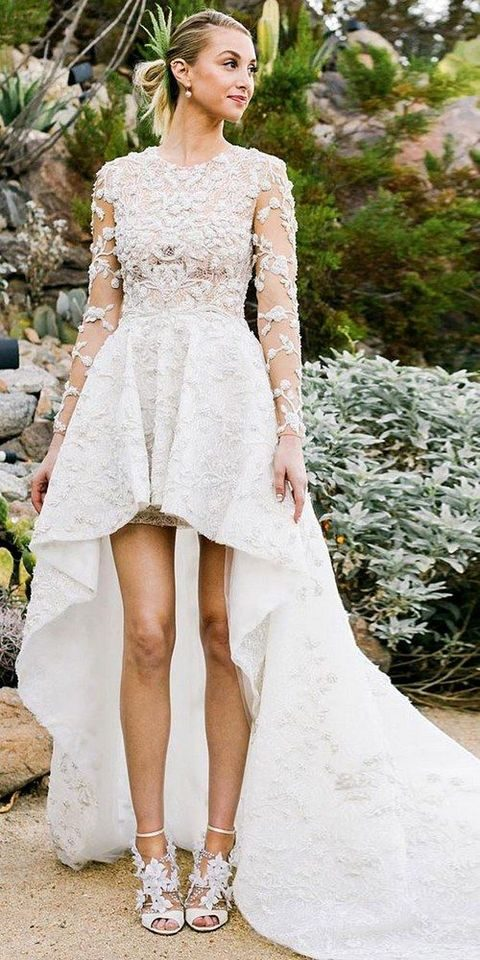 high low wedding gown with long sleeves and lace appliques