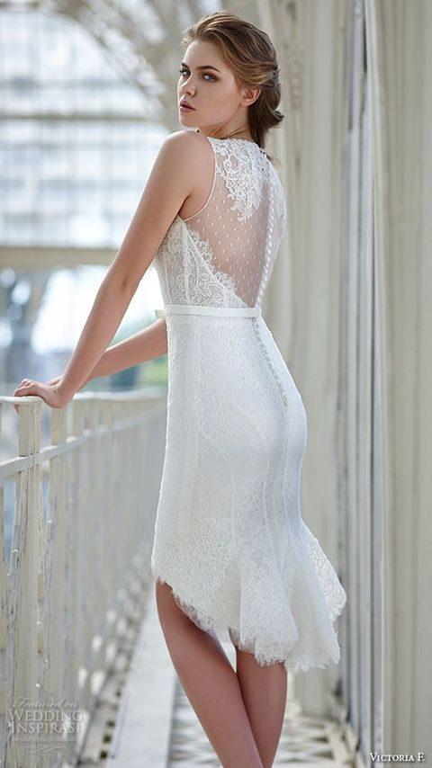illusion back high low wedding dress