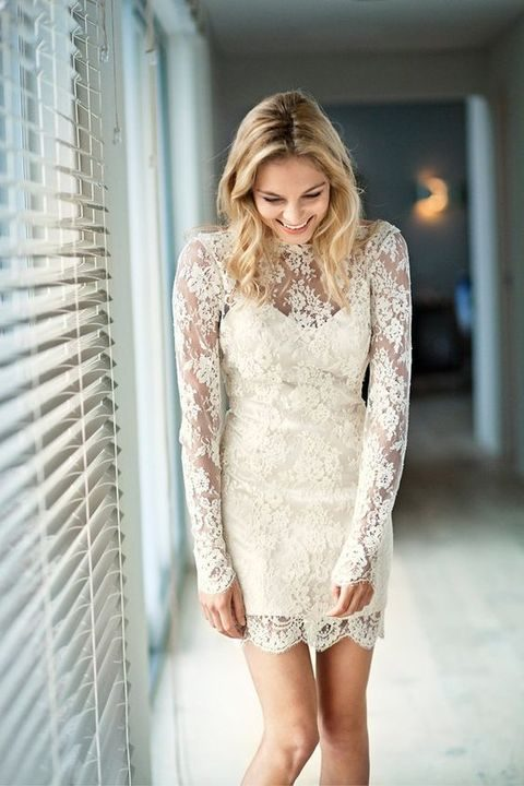 illusion neckline short lace wedidng dress