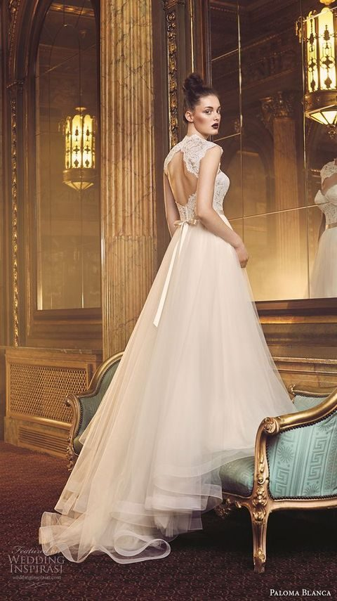 keyhole back wedding dress with a bow