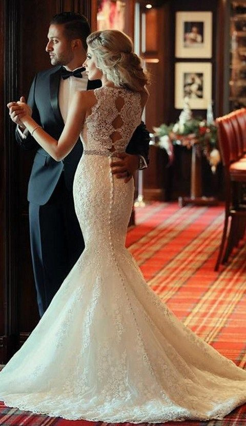 lace beaded mermaid wedding dress with buttons