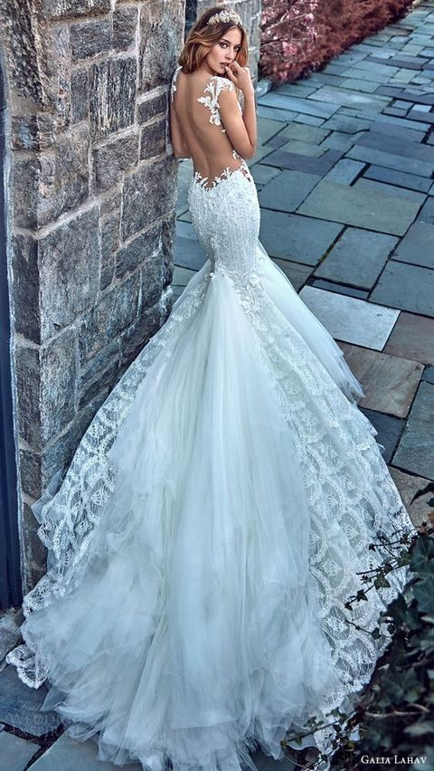 lace low back mermaid wedding gown with a train