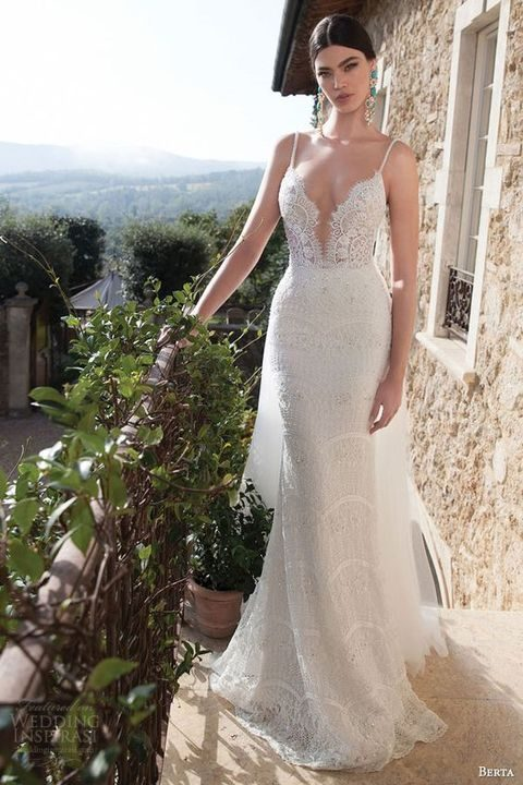 lace sheath wedding dress with a sexy plunging deep V neckline and embellished straps