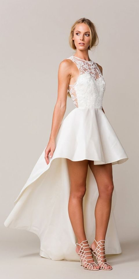 mini high low wedding dress with lace appliques