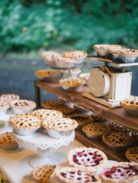 mini pies on vintage cake stands