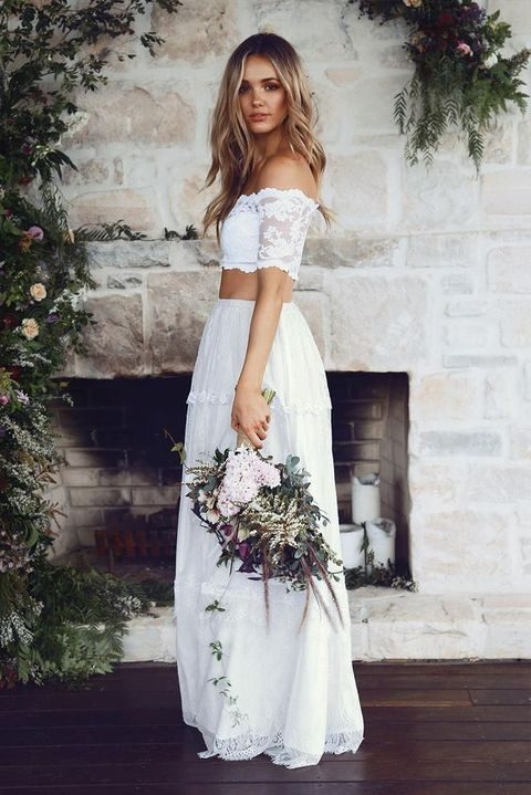 off the shoulder crop top wedding dress