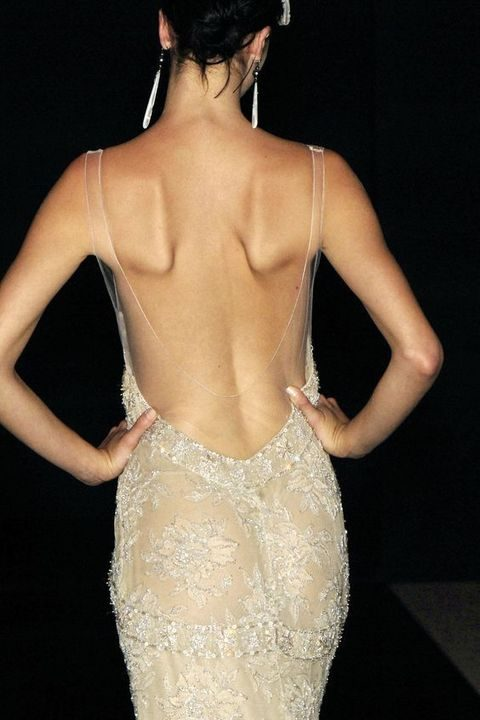 open back dress with an illusion part