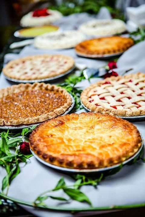 pie buffet with various flavors