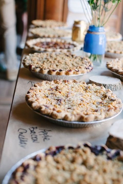 put some kraft paper on the table and write and fillings of the pies on it