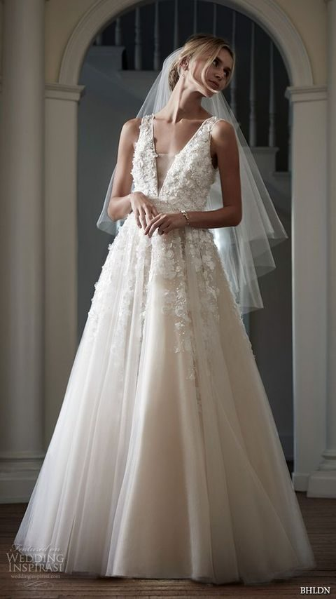 romantic A line ball gown with floral appliques and a transparent cover