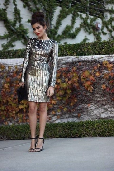sequin sheath dress with long sleeves