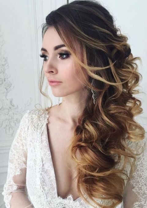 Side Ponytail Curly Updo Hairstyles For Long Hair Wedding With Fl Broach And Large Veil