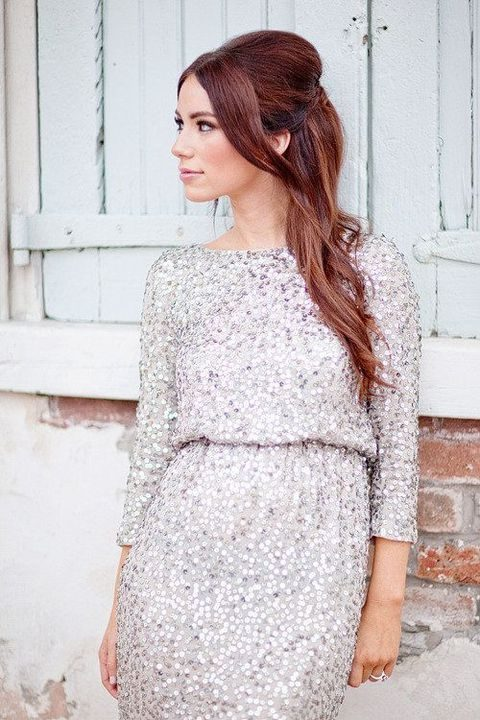 silver sequin dress with sleeves