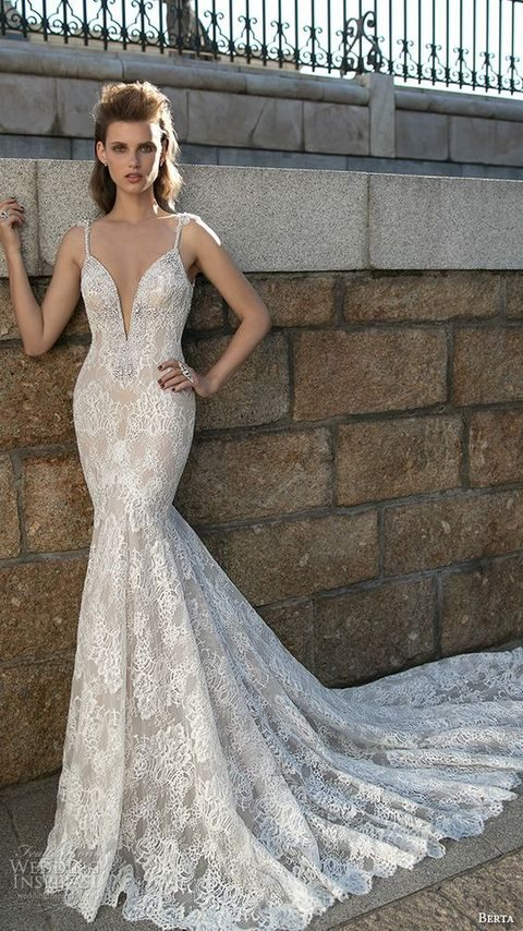 spaghetti strap lace embroidered mermaid wedding dress