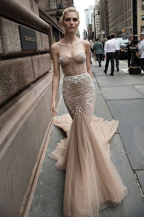 strapless mermaid dress in a beautiful nude color
