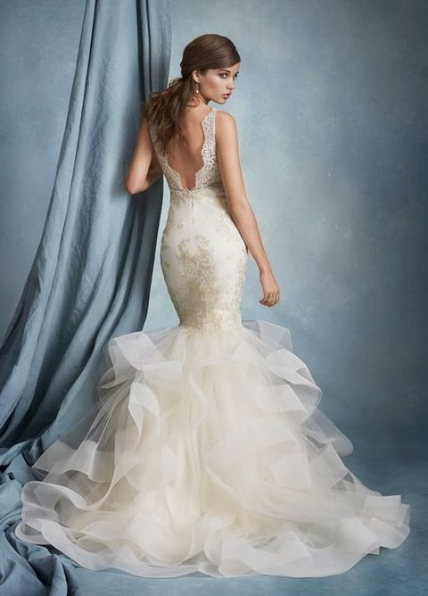 tulle and gold lace mermaid dress with an open back