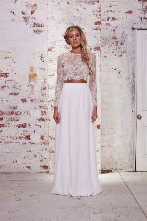 two piece crop top wedding dress with a lace top