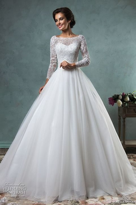 Elegant And Timeless Bateau Wedding Dresses | HappyWedd.com