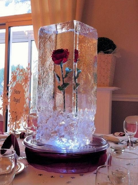 a rose in an ice cube for a centerpiece