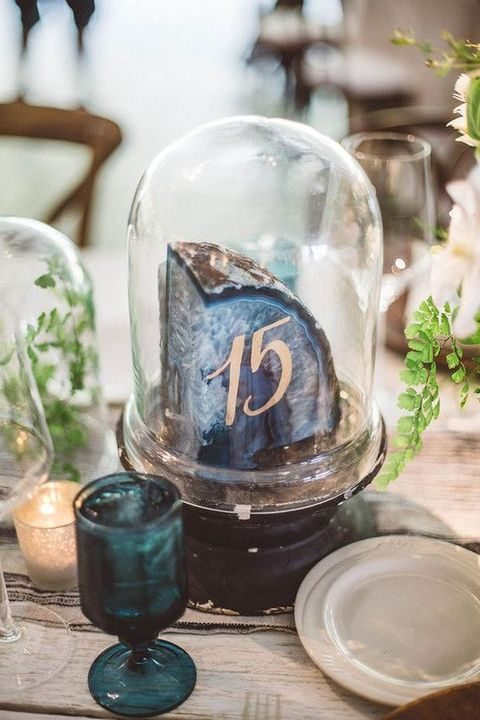 agate slice table number in a cloche