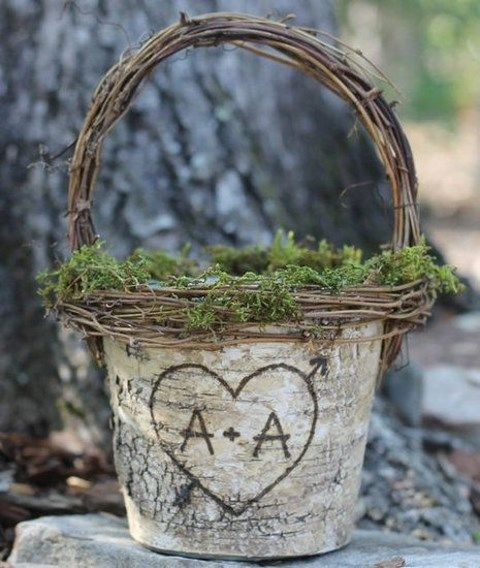 basket made of tree bark and vine