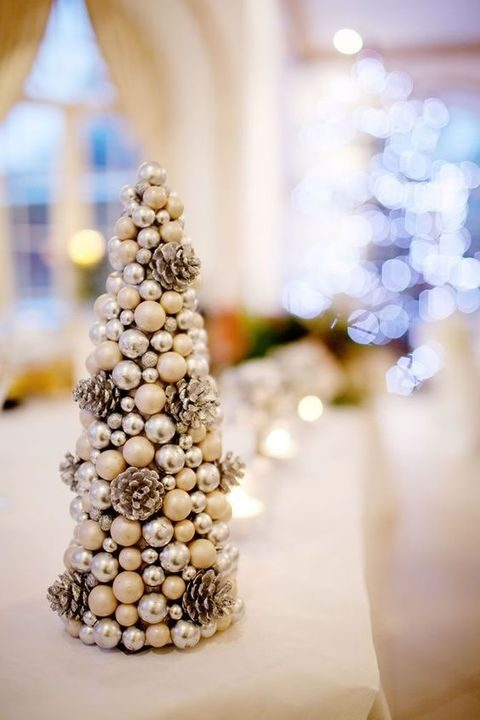 beads, pearls and pinecones Christmas tree for decor or a centerpiece