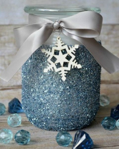 blue frosted mason jar as a candle holder