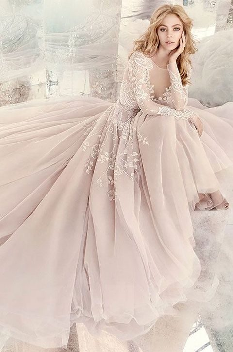 blush long sleeve A-line gown with white lace by Hayley Paige