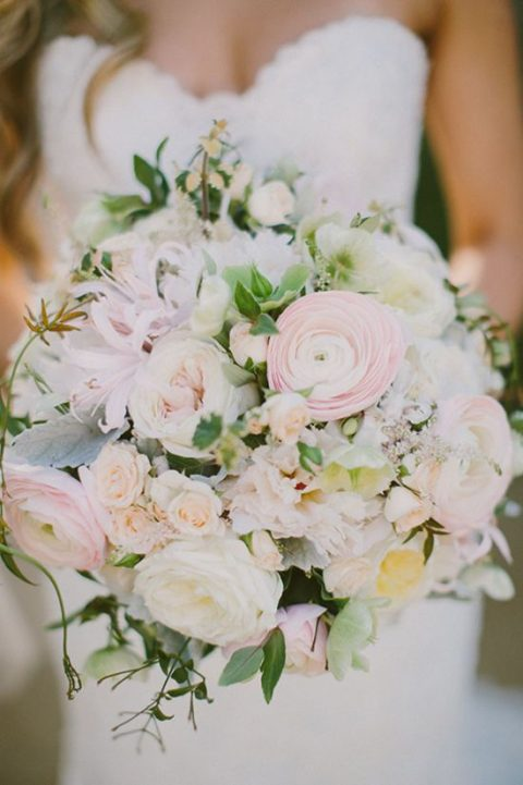 blush ranunculus wedding bouquet