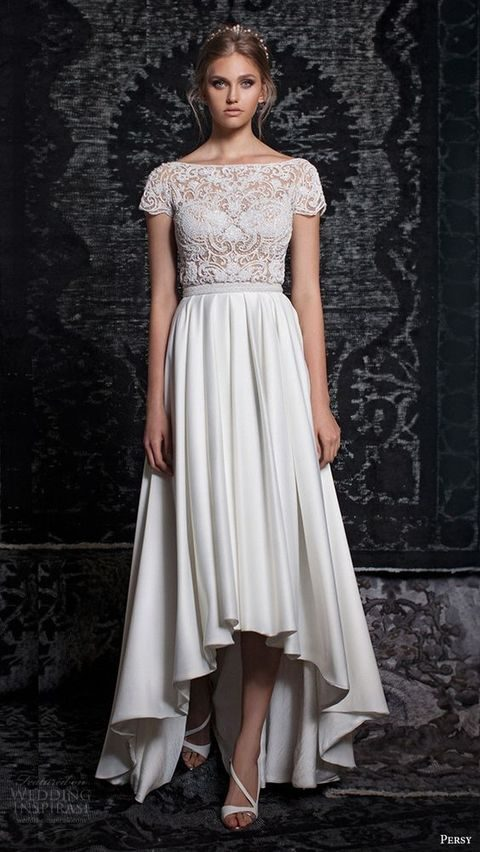 boho wedding gown with cap sleeves and a high low skirt by Persy Bridal