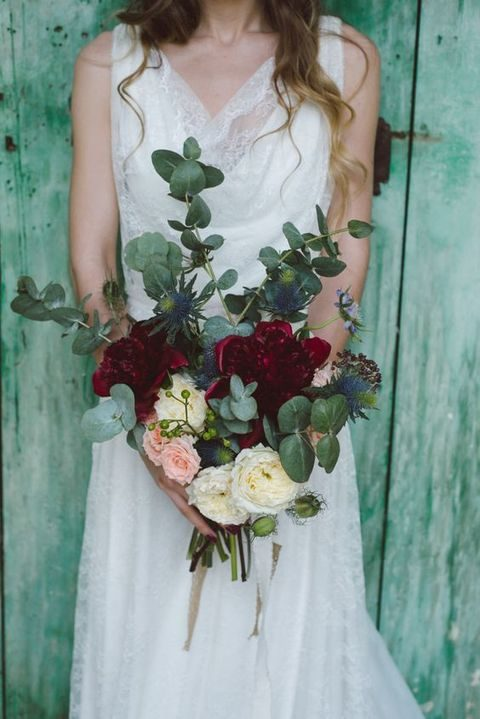bold bridal bouquet with eucalyptus