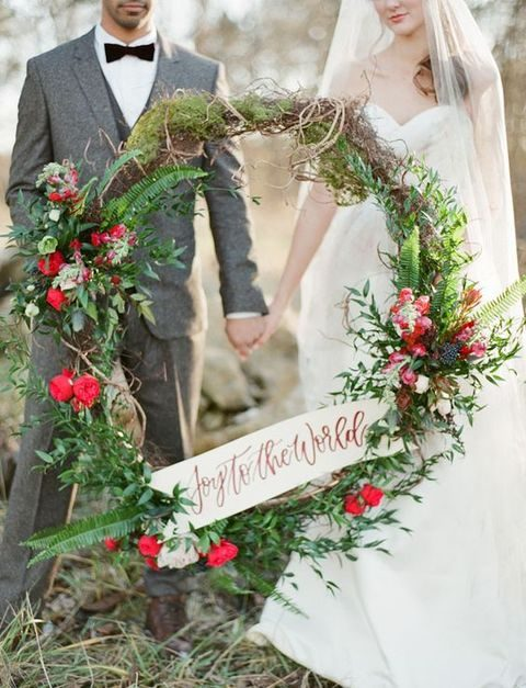 bold holiday wreath for wedding decor and photos