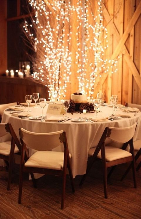 branches decorated with lights for an awesome winter reception