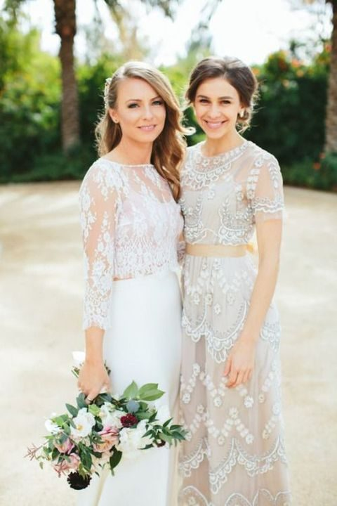 bridal separates with lace and embellishments