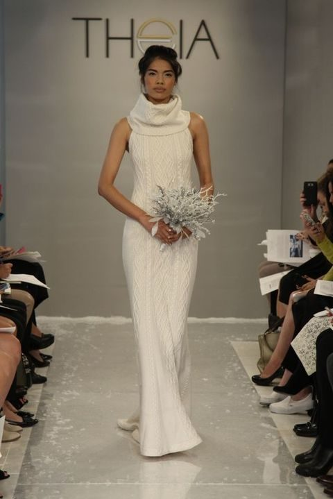 cable knit turtleneck cashmere wedding dress