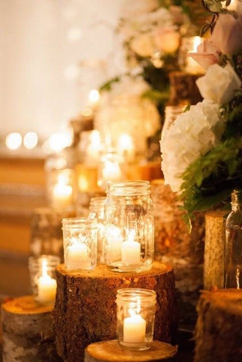 candles in mason jars for wedding decor