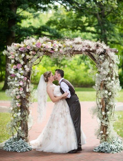 chic floral ceremony arch