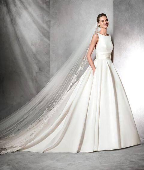 Clic A Line Wedding Gown With Bateau Neckline