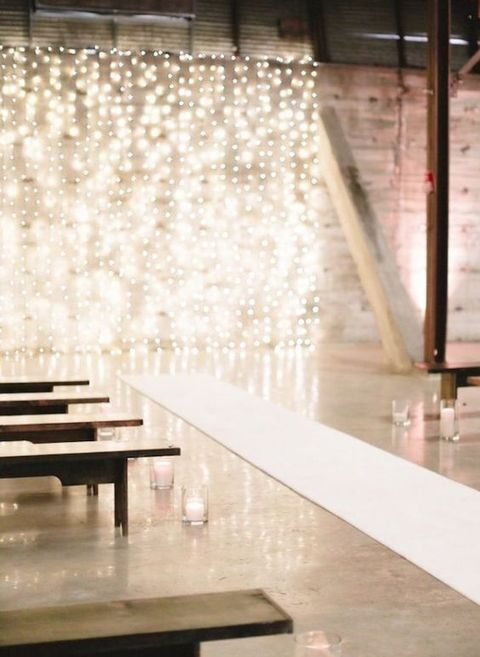 create a chic backdrop for the wedding using only lights