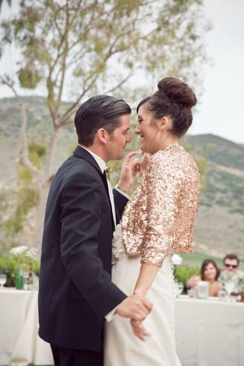 cropped gold sequin bridal blazer with half sleeves