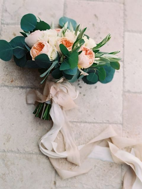 eucalyptus and peach roses wedding bouquet