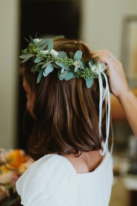 eucalyptus floral crown for brides and bridesmaids