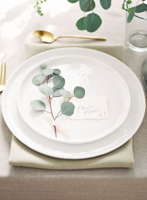 eucalyptus for wedding place settings