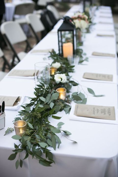 Eucalyptus garland centerpiece for a long table