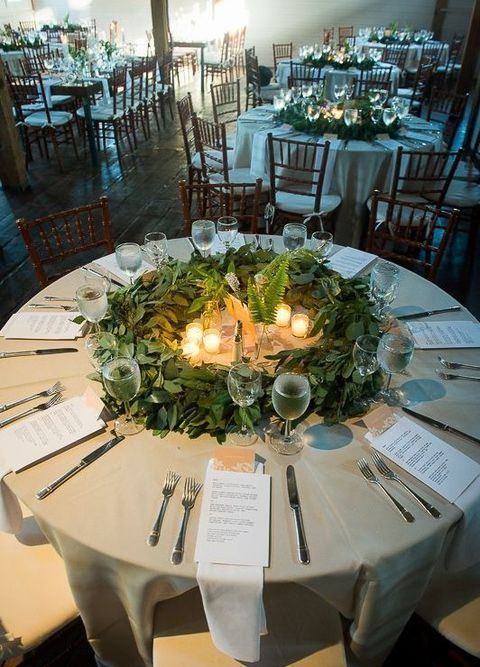eucalyptus wreaths instead of wedding centerpieces