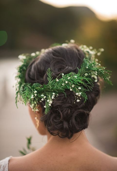 evergreen and flowers bridal crown